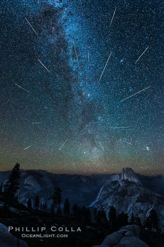 Perseid Meteor Shower and Milky Way, over Half Dome and Yosemite National Park
